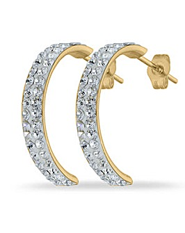 Crystal Glitz 9 Carat Gold Crystal Set Half Hoop Earrings