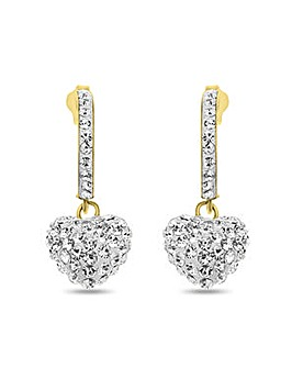 Crystal Glitz 9 Carat Gold Crystal Set Heart Drop Earrings