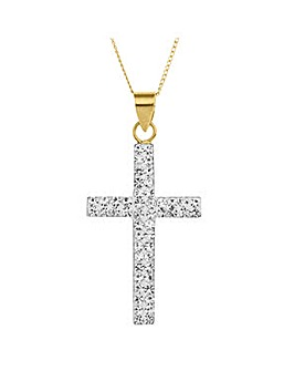 Crystal Glitz 9 Carat Gold Crystal Set Cross Pendant