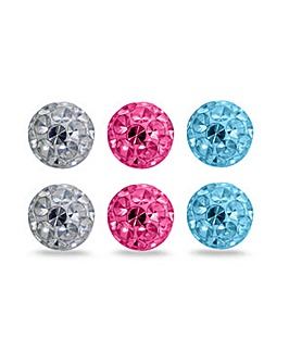 Crystal Glitz Sterling Silver Crystal Set Of Three Pairs Ball Stud Earrings