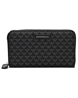 Emporio Armani Repeat Logo Zip Around Wallet
