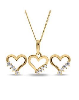 9 Carat Gold Open Hearts Cubic Zirconia Pendant And Earrings Set