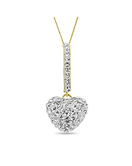 Crystal Glitz 9 Carat Gold Crystal Set Heart Drop Pendant