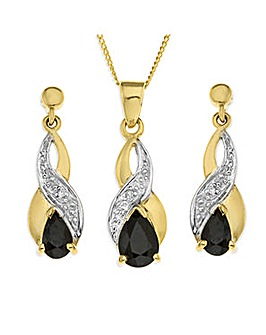 9 Carat Gold Sapphire and Diamond Pendant and Earrings Set