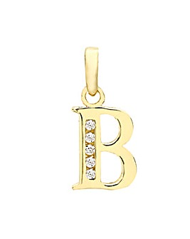 9 Carat Gold CZ Initial Charm