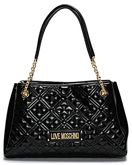 Love Moschino Diamond Check Patent Chain Shopper Bag
