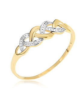 9ct Diamond Accent Link Ring
