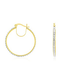 Crystal Glitz 9 Carat Gold Round Hoop Earring