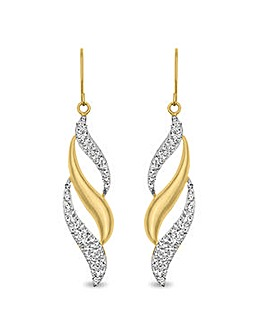 Crystal Glitz 9ct Gold Flame Style Drop Earring