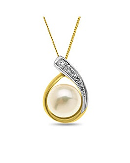 9ct Gold Pearl Diamond Drop Pendant