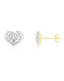 Crystal Glitz 9 Carat Gold Crystal Set Heart Shaped Stud Earrings