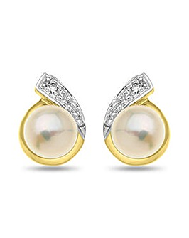 9 carat Gold Round Pearl and Diamond Accent Swirl Style Stud Earring