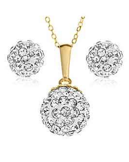 Crystal Glitz 9 Carat Gold Ball Pendant and Earrings Set