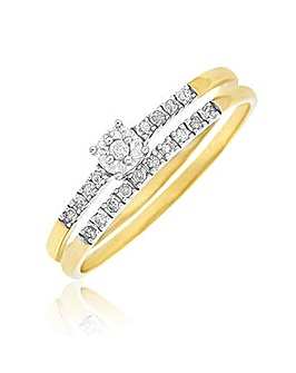9ct Gold Diamond 2 Piece Bridal Set