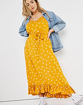 Joe Browns Spot Maxi Dress with Ruffle Hem