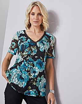 Julipa Stretch Print Lace Top