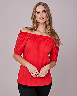 Julipa Gypsy Top with Lace Sleeve Insert