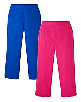Pack of 2 Woven Cotton Crop Trousers