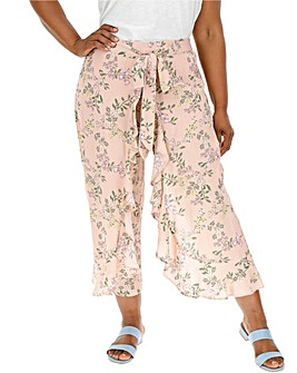 Floral Crinkle Wrap Crop Trousers