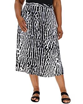 Animal Print A Line Midi Skirt