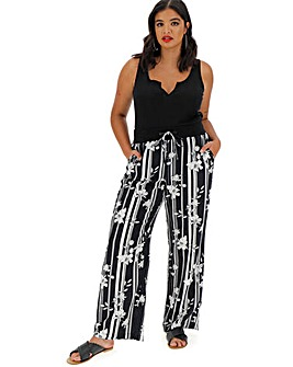 Floral Slouch Linen Rich Trousers Long