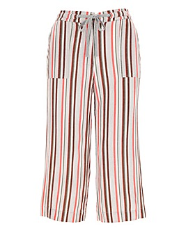 Stripe Linen Rich Crop Trousers