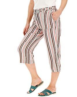 Stripe Linen Rich Crop Trousers