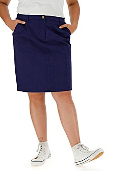 Cotton Rich Knee Length Stretch Chino Skirt