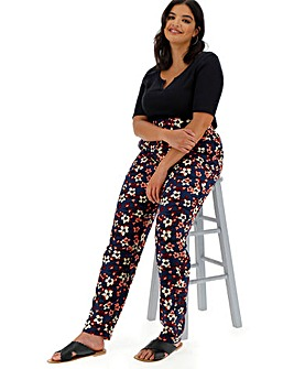 Floral Print Tapered Trousers Regular