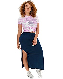 Knot Side Stretch Jersey Maxi Skirt