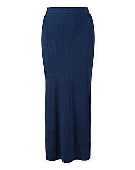 Knot Side Stretch Jersey Maxi Skirt