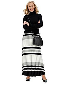 Print Sunray Pleat Maxi Skirt