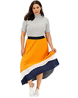 Border Print Sunray Pleat Maxi Skirt