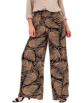 Print Crinkle Shirred Waist Wide Trouser