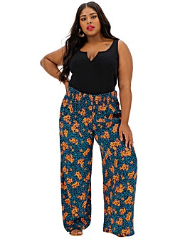 Floral Crinkle Shirred Waist Wide Trousers Regular