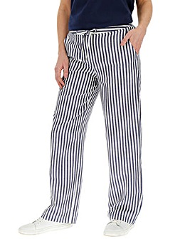 Stripe Easy Care Linen Mix Trousers Long
