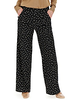 Spot Crepe Wide Leg Trousers Regular