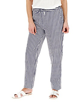 Stripe Linen Mix Tapered Trousers