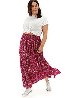 Floral Crinkle Shirred Waist Maxi Skirt