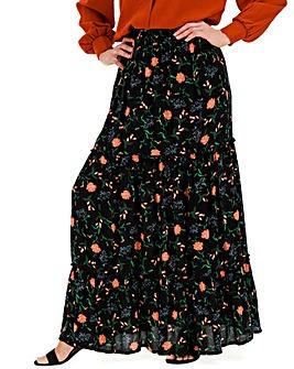 Floral Crinkle Shirred Waist Maxi Skirt
