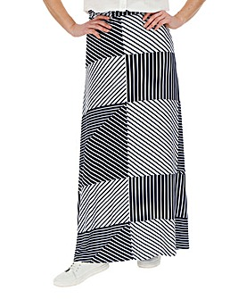 Navy & White Stripe Jersey Maxi Skirt