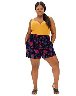 Floral Crinkle Shirred Waist Shorts