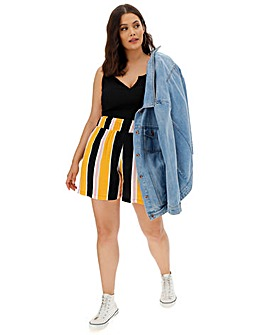 Stripe Crinkle Shirred Waist Shorts