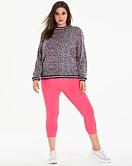 Neon Crop Stretch Jersey Leggings
