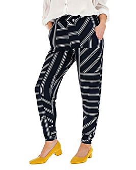 Print Stretch Jersey Tapered Trousers