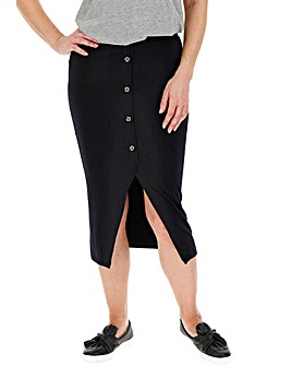 Mock Button Front Jersey Midi Tube Skirt