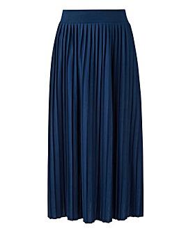 Pleat Stretch Jersey Midi Skirt