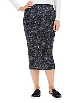 Spot Stretch Jersey Midi Tube Skirt