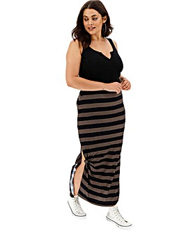 Stripe Knot Side Stretch Jersey Maxi Skirt