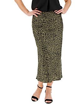 Animal Print Satin Column Midi Skirt
